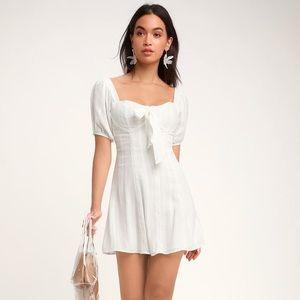 Lulu's Madeline Puff Sleeve Linen Dress white
